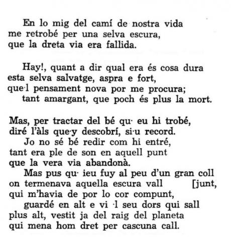 Andreu Febrer, Incipit dell'Inferno, ediz. 1974