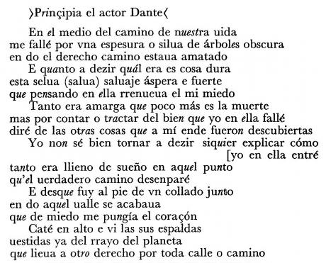 Enrique de Villena, le prime sei terzine dell'Inferno, ediz. 1974