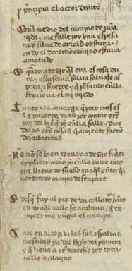 Enrique de Villena, le prime sei terzine dell'Inferno, ms del 1428