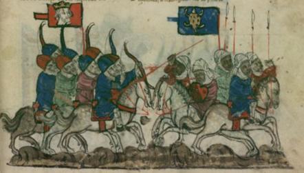 Battaglia di Köse Dağ (1243), i mongoli sconfiggono i turchi Selgiuchidi di Anatolia, miniatura del secolo XIV