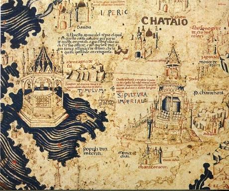 Il Catai (Cina) nel mappamondo di Fra Mauro (ca. 1450). Il sud è in alto nella mappa.