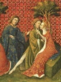 Il bacio tra Lancillotto e Ginevra, miniatura, sec. XV