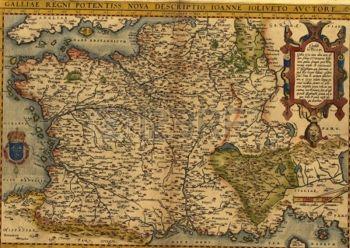 Mappa della Francia, Ortelius, ca. 1570