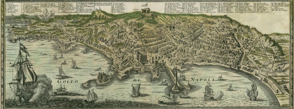 Antica mappa di Napoli secondo Johann Homann, 1727