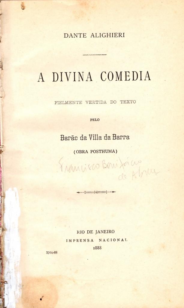 Barão da Villa da Barra, 1888, Frontespizio