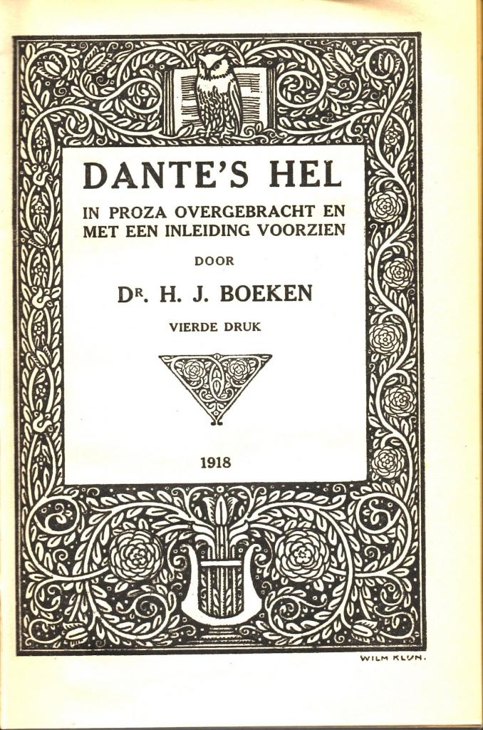Boeken, 1918, Frontespizio dell'Inferno
