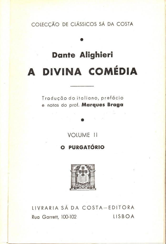 Braga, 1957, Frontespizio del Purgatorio