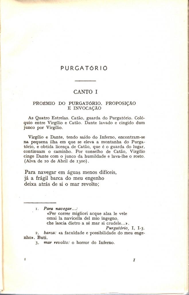 Braga, 1957, incipit del Purgatorio