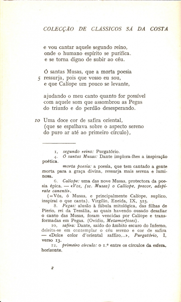 Braga, 1957, segue incipit Purgatorio