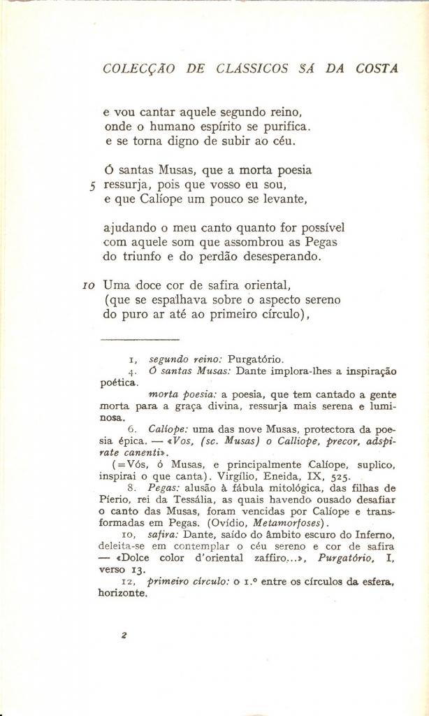 Braga, 1957, segue incipit Purgatorio