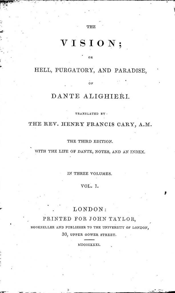 Cary, 1831, Frontespizio