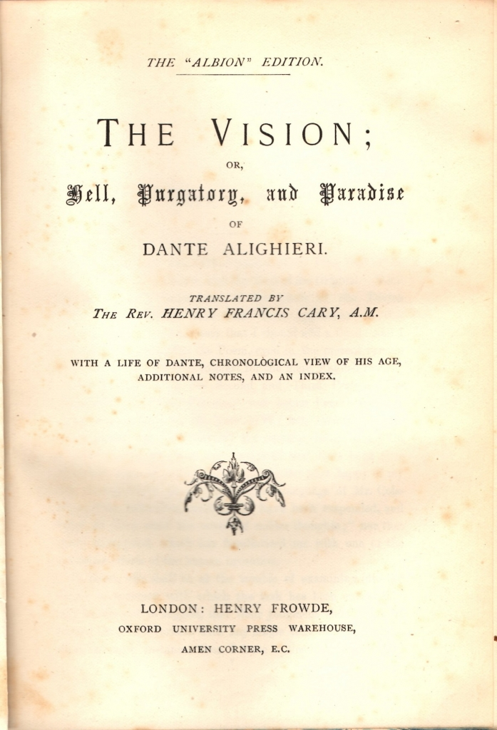 Cary, 1844, Frontespizio