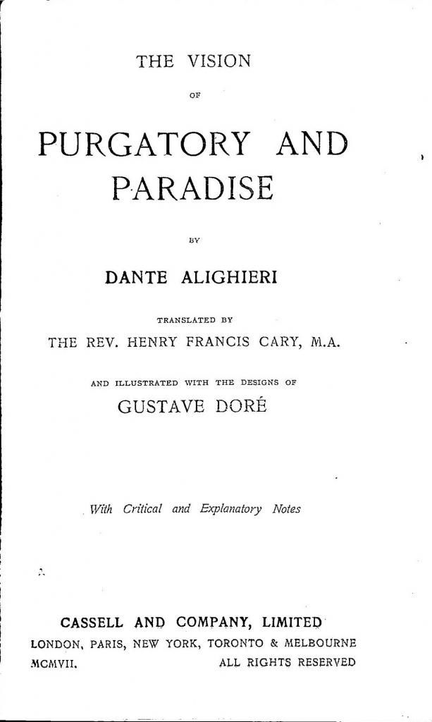Cary, 1907, Frontespizio