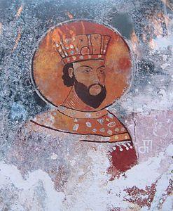 David VI, dinastia Bagration, re di Georgia ai tempi di Dante, affresco nel monastero di Gelati