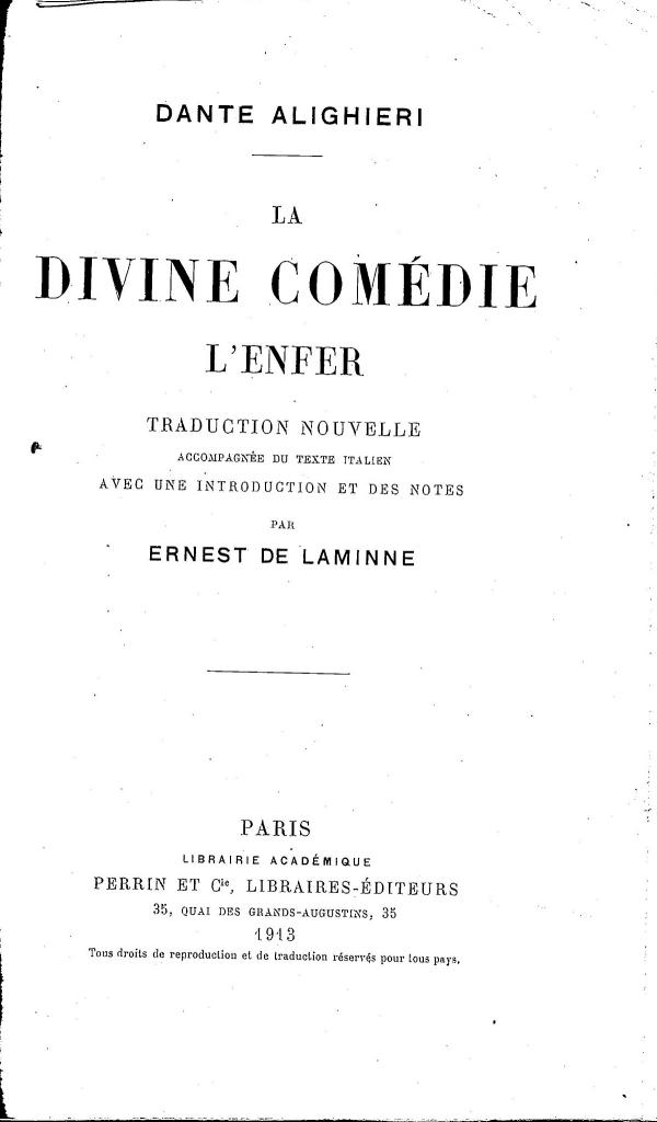 E. Laminne, Frontespizio