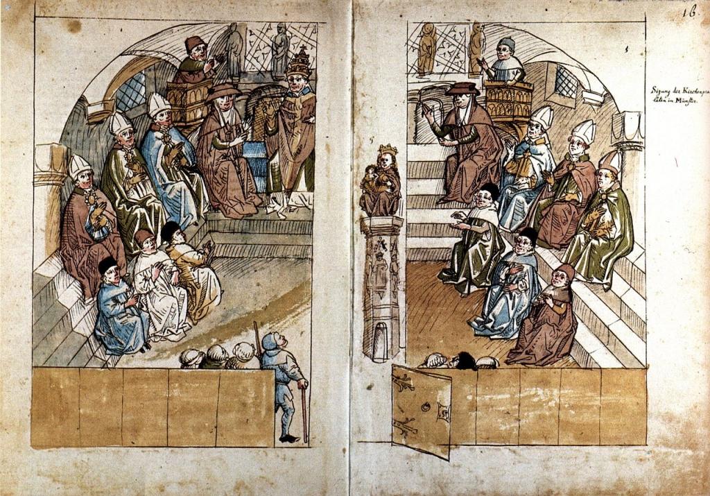 Il concilio di Costanza (1414-18), illustraz. dalla Cronaca di Ulrich von Richental