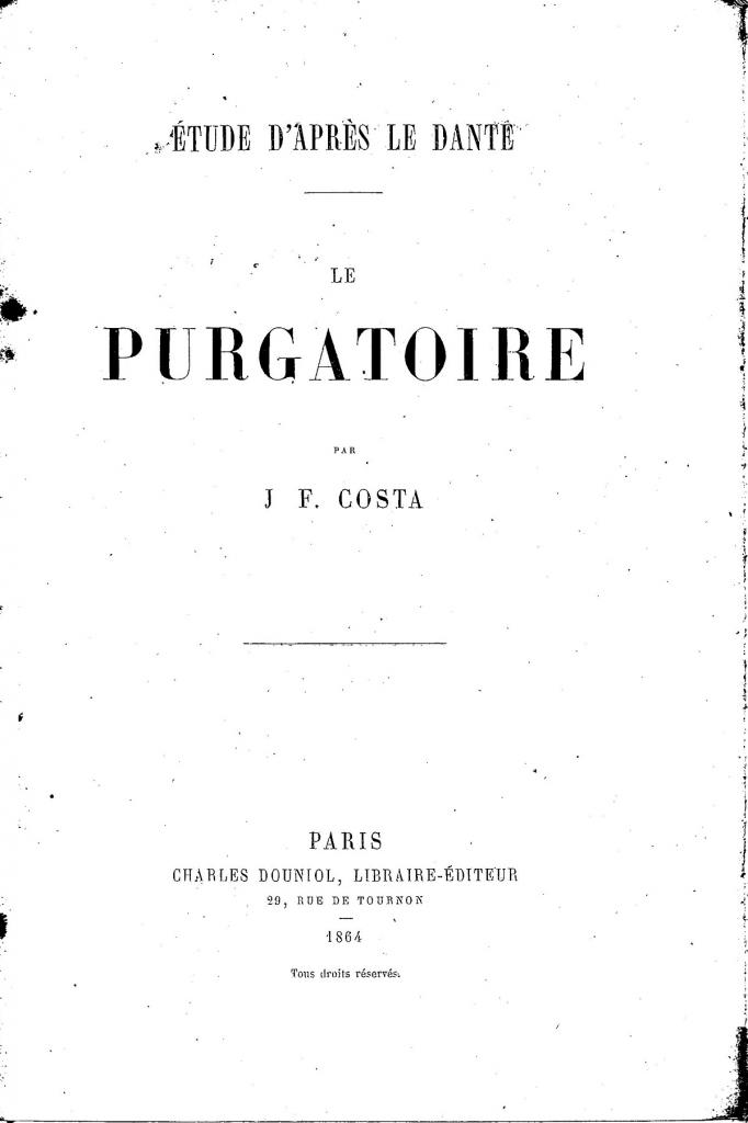 J.F. Costa, Frontespizio