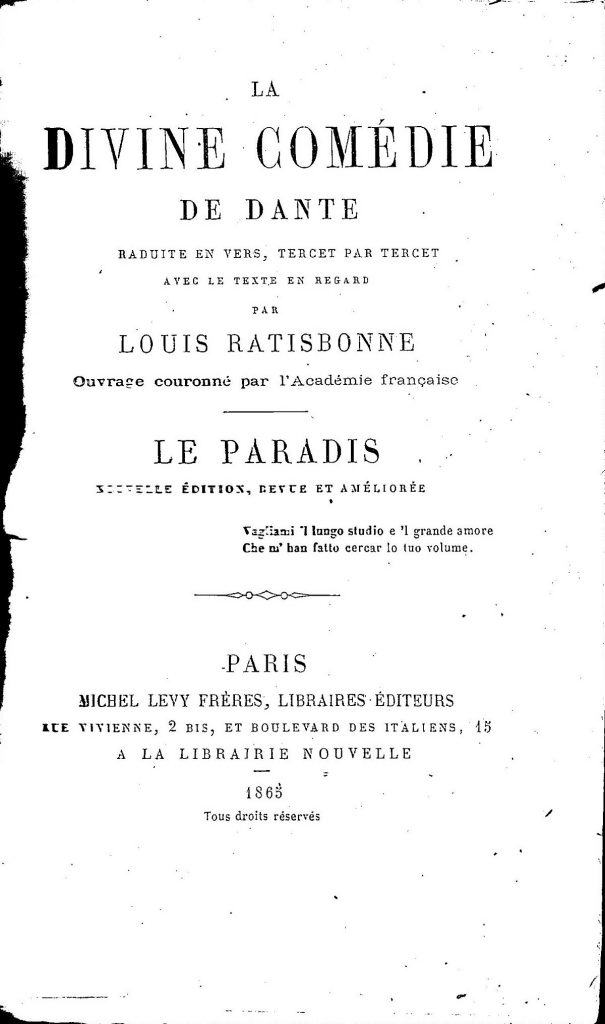 L. Ratisbonne, Frontespizio