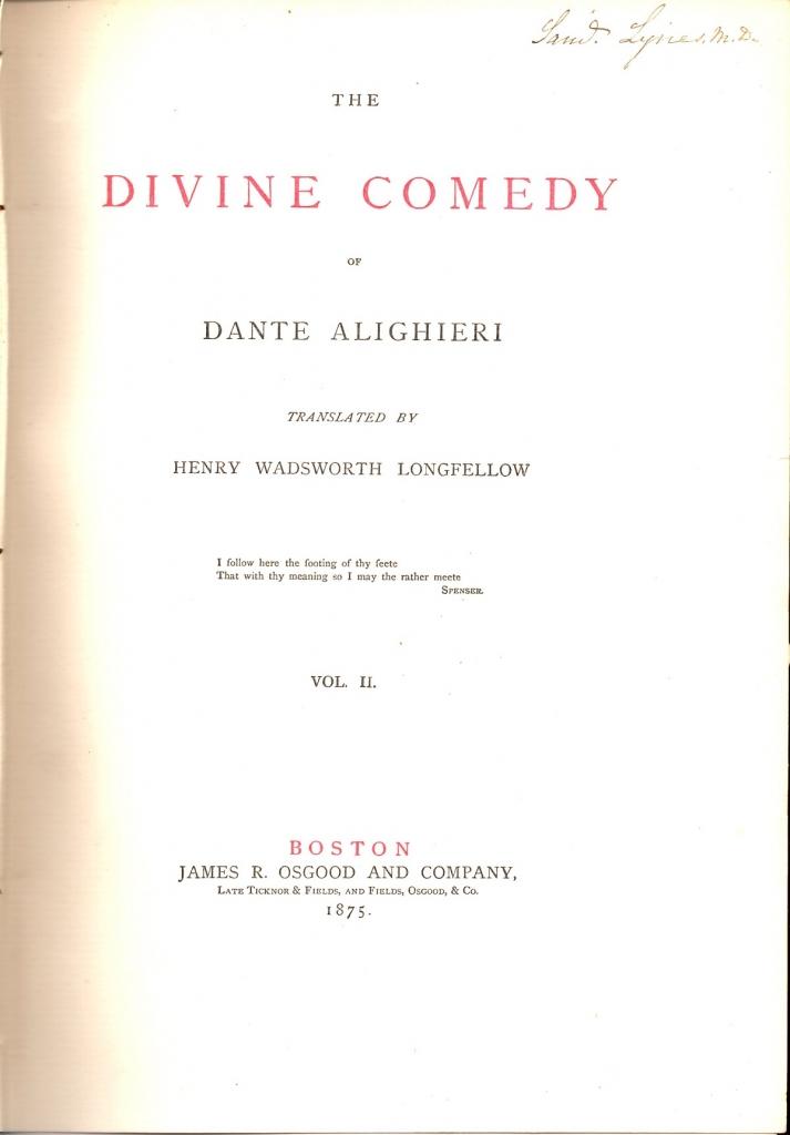 Longfellow, 1875, Frontespizio