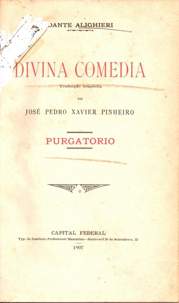 Pinheiro, 1907, Frontespizio del Purgatorio