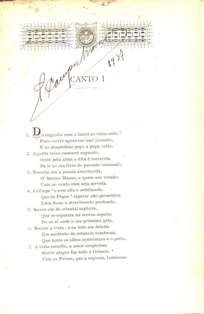 Pinheiro, 1907, incipit del Purgatorio
