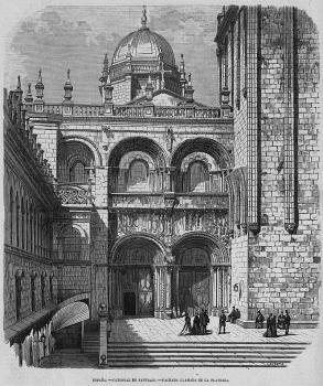 Santiago de Compostela, Fachada de la Platería, siglo XII, grabado de 1868