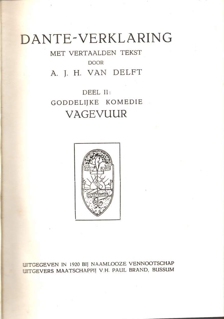 Van Delft, 1920, Frontespizio del Purgatorio