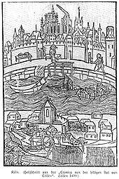 Stampa di Colonia con il fiume Reno in piena, 1499