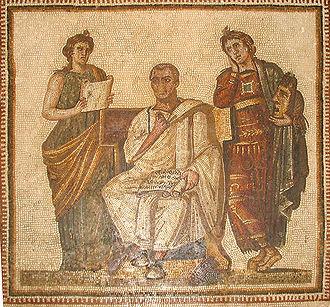 Virgilio tra le muse Clio e Melpomene