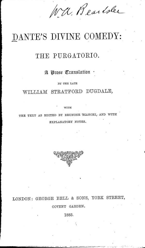 W.S. Dugdale, 1883, Frontespizio