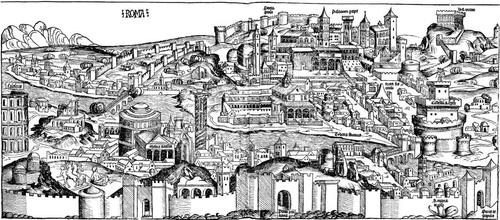 Hartmann Schedel (1440-1514) - Veduta di Roma - 1490