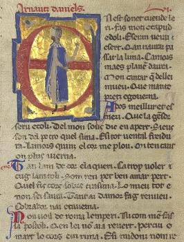 Pagina di un canzoniere provenzale del Sec. XIII con l'immagine di Arnaut Daniel (Bibliothèque Nationale de France)