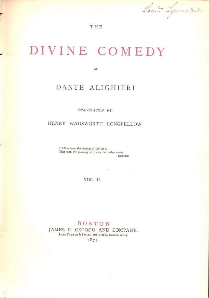 Frontespizio del Purgatorio ed. 1875