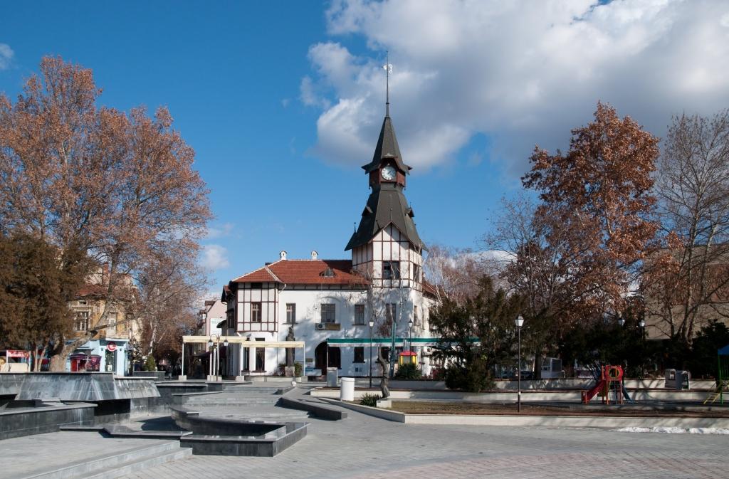 Pazardžik, centro della città con la Torre dell'orologio