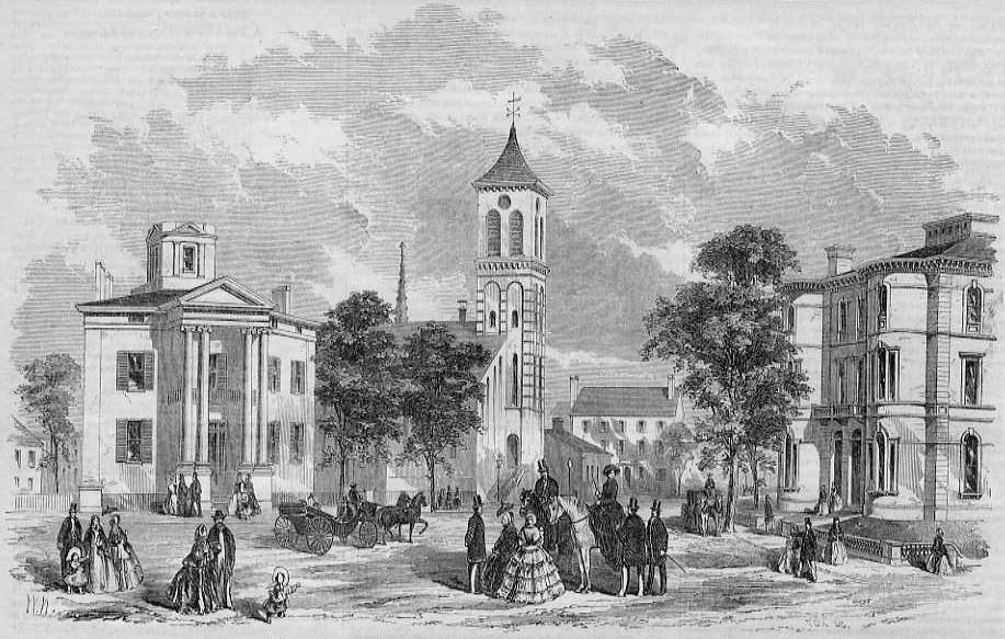 Portland, Maine, Free and Congress Streets in 1857