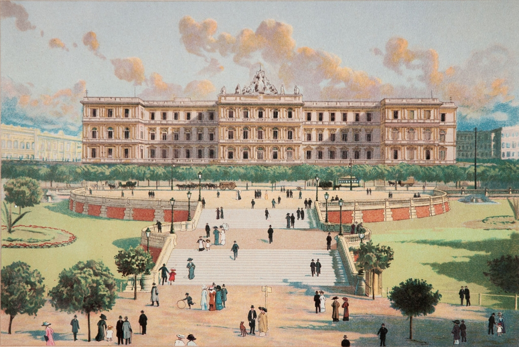 The back of Casa Rosada in a painting of 1910 by Ángel Della Valle