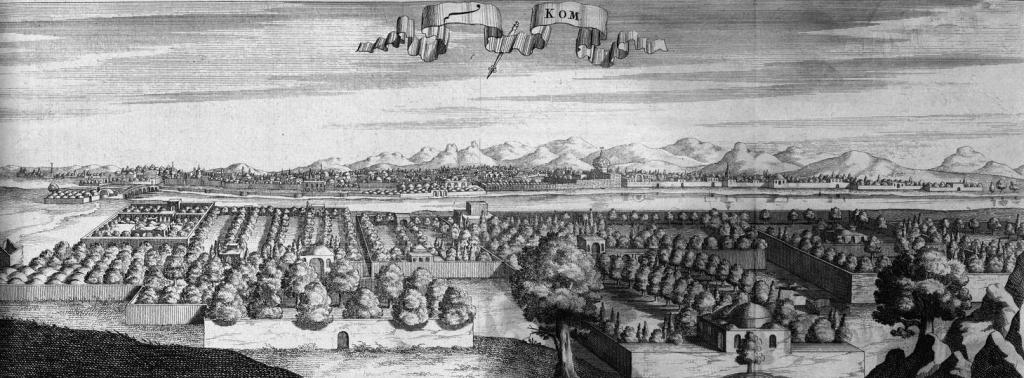 Veduta di Qom in una stampa del 1723