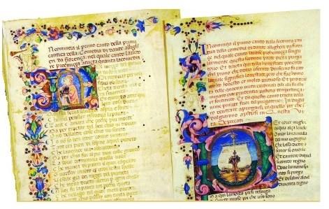 Mumbai Asiatic Library, codice miniato della Divina Commedia, sec. XIV